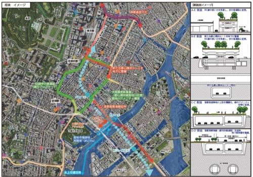 中央区による銀座周辺のまちづくり構想。KK線や首都高速道路都心環状線の築地川区間の上部を遊歩道とする(資料:中央区)