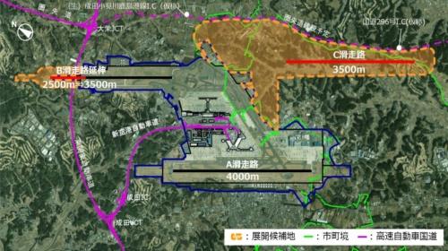 成田空港の基本計画改定に基づく空港機能強化(資料:国土交通省)