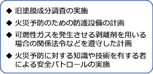 塗装塗り替え作業に伴う留意事項の改定のうち、火災対策強化に関わる項目。中日本高速道路会社への取材を基に日経コンストラクションが作成