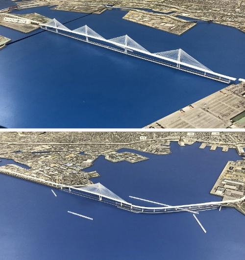 上が六甲アイランドとポートアイランドの間に建設する5径間連続斜張橋の模型。最大支間長650mは、国内全ての斜張橋と比較しても2位となる。1位は本州四国連絡橋の多々羅大橋で890m。下はポートアイランド―和田岬間に架ける1主塔斜張橋(写真:阪神高速道路会社)