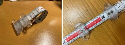 メジャーの収納時(左)と計測時(右)。手動で収納する(写真:大成建設)