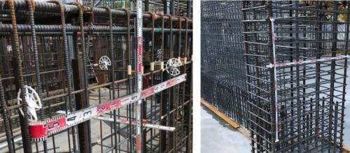 鉄筋の割り付けの間隔を撮影する際、従来のメジャーでは、鉄筋に沿わせて固定するのが難しかった(左)。「くるくるメジャー」はスライドパーツの裏面のマグネットで、鉄筋に直接取り付けられる。右の写真のように、2台を組み合わせて使うことも可能だ(写真:大成建設)
