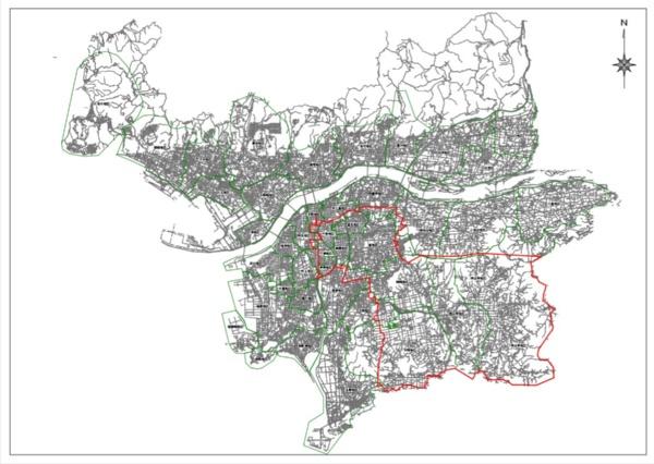 和歌山市の断水計画エリア(赤線部)。市内の5分の1の世帯が断水の対象となった(資料:和歌山市)