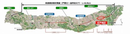 横浜環状南線の概要。庄戸地区で工法を変更する(資料:国土交通省、東日本高速道路会社)