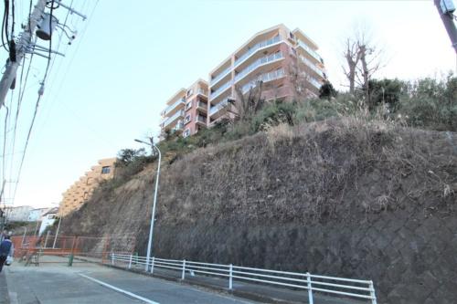 土砂崩落が発生した斜面と前面の市道。2月6日の撮影時には土砂が撤去されていた(写真:日経クロステック)
