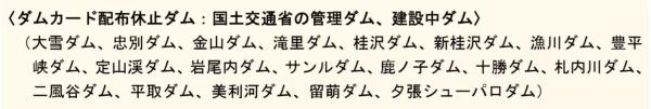 国土交通省北海道開発局が「ダムカード」の配布を休止しているダム(資料:国土交通省北海道開発局)