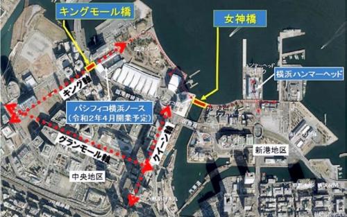 女神橋の位置図(資料:横浜市)