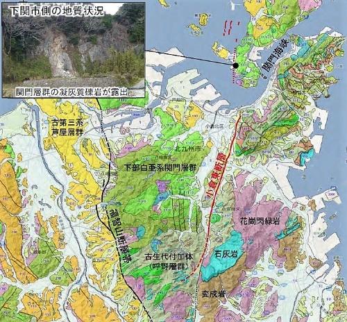 下関市周辺の地質状況。太線は活断層、破線は推定の活断層(資料:産業技術総合研究所)