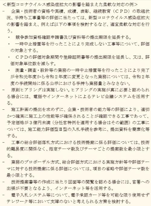 新型コロナ感染拡大に伴う入札・契約手続きの柔軟な対応例。背景は日経クロステックが着色(資料:国土交通省)