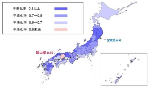 ■岡山の平準化率は都道府県で唯一0.6未満