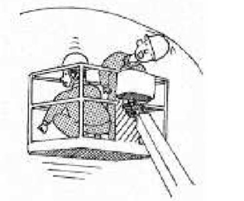 国土交通省甲府河川国道事務所が建設を進めている中部横断自動車道のトンネル工事現場で、2020年1月に起こった高所作業車の死亡事故のイメージ。アームを操作していた作業員が誤ってバケットを上昇させ、天井との間に頭を挟まれた(資料:厚生労働省山梨労働局)
