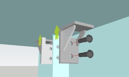 少しずれた孔に支圧接合用高力ボルトを差し込んで、補強部材が上のデッキプレートに密着接合するイメージ(資料:川田工業)