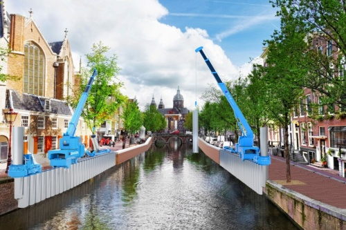 技研製作所が開発した「ジャイロプレス工法」と「GRBシステム」による運河での施工イメージ(資料:技研製作所)