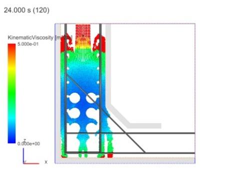 型枠内に流し込んだコンクリートにバイブレーターで振動を加えるシミュレーションの様子。色が青いほど粘性が低い。バイブレーターが当たっている部分が液状化して流動性が高くなっている(資料:清水建設)