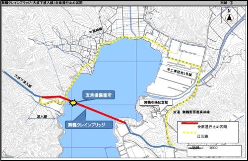 舞鶴クレインブリッジの位置図と舞鶴市が設定した迂回路。舞鶴湾の北東の隅に架かっている(資料:舞鶴市)