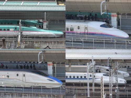 写真上段は東北新幹線、下段左は北陸新幹線、下段右は東海道・山陽新幹線の各列車。路線や区間、使用車両によって最高速度は様々だ(写真:日経クロステック)