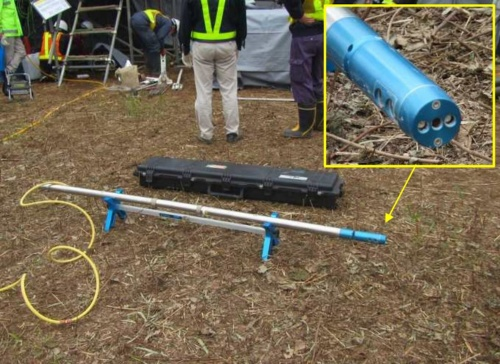 3次元レーザースキャナーを使って、空洞内面の寸法を計測した(写真:東日本高速道路会社)