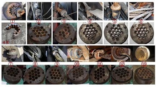 回収した箱桁側のケーブル端部と、より線を束ねるアンカーヘッドの腐食状況。陸側のケーブルから順に1~13の番号が振ってある。7~13のアンカーヘッドの腐食が特に激しい。最初に11番のケーブルがアンカーヘッド付近で破断して落橋につながったとみられる(写真:台湾国家運輸安全調査委員会)