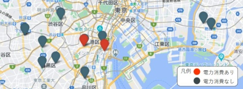 スマートメーターが計測したデータを基に、作業があったと推測される現場を赤のアイコン、それ以外を黒のアイコンで地図上にプロットした。稼働率が高い現場に応援を出すといった使い方が考えられる。図はイメージ(資料:グリッドデータバンク・ラボ)