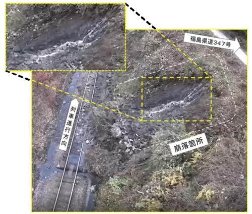 事故現場の様子。線路脇の斜面が幅約10m、高さ約6mにわたって崩壊した。複数箇所で水が勢いよく流れていた。斜面には崩落を防ぐ防護工などが施されていなかった(資料:運輸安全委員会)