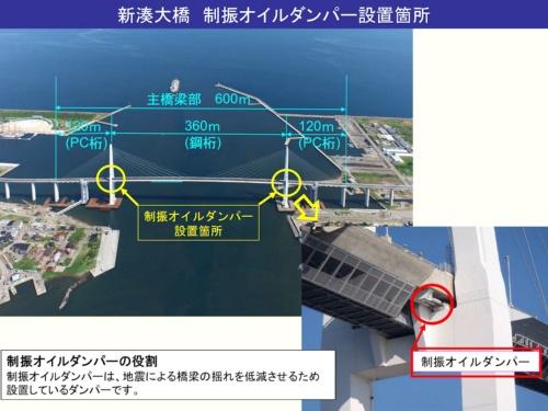 新湊大橋の制振オイルダンパー設置場所(資料:国土交通省北陸地方整備局)