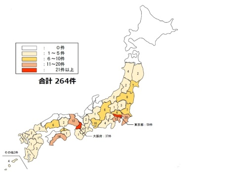 CM方式を活用した建築事業の都道府県別の発注件数。国土交通省のアンケートで、日本コンストラクション・マネジメント協会の加盟企業が挙げた件数(資料:国土交通省)