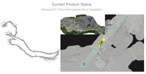 コンピューター上でのシミュレーションのイメージ。現場の起伏などを再現してある(資料:SafeAI)