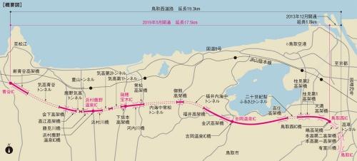 鳥取西道路は全長19.3kmのうち約4割がトンネルや橋梁だ。一番長いトンネルの延長は2132mに達する。長大橋も多い。国土交通省の資料を基に日経クロステックが作成