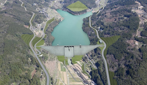 本明川ダムの完成イメージ(資料:国土交通省長崎河川国道事務所)