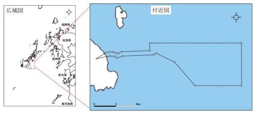 戸田建設など6社が浮体式洋上風力発電に取り組む長崎県五島市沖の一般海域。右図の点線で囲まれた箇所が再エネ海域利用法における海洋再生可能エネルギー発電設備整備促進区域(資料:戸田建設、ENEOS、大阪ガス、INPEX、関西電力、中部電力)