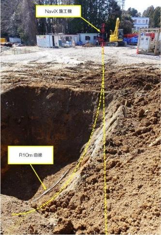 実証施工の様子。曲率半径10mの急曲線へも対応可能なことを確認した(写真:鹿島)