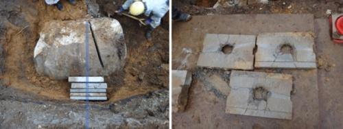 実証施工では、厚さ40cmのプレキャストコンクリート板を貫通して削孔することに成功した(写真:鹿島)