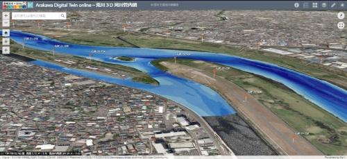 荒川下流域の水深段彩図。2019年度の測量成果(資料:国土交通省荒川下流河川事務所)