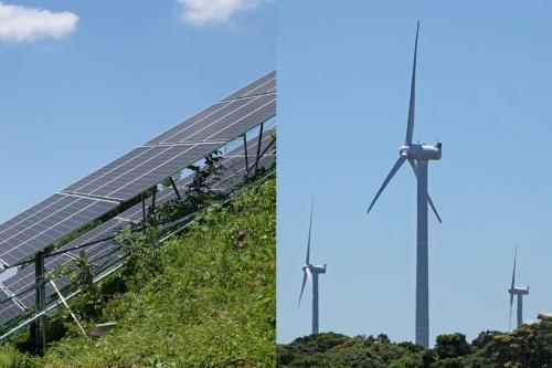 太陽光発電や風力発電など再生可能エネルギー施設の例。国土交通省は再エネ施設の整備で所有者不明土地の利用促進を目指す(写真:日経クロステック)