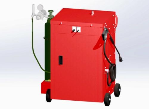 噴霧器のイメージ。作業員が押しながら移動できる方式を開発している(資料:小泉製麻)