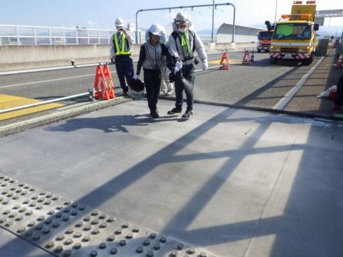 エポキシプライマーを塗布した後に、5号ケイ砂を散布している様子(資料:東亜道路工業)