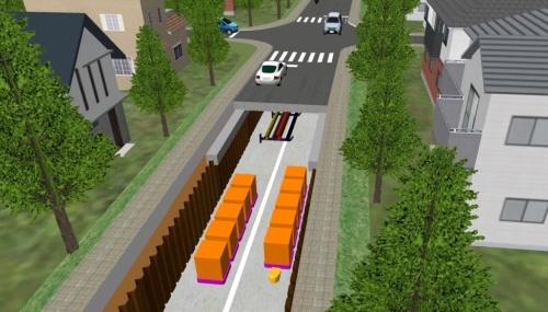 ダイバーストリートのイメージ。地下空間を無人搬送車が走る(資料:大林組)