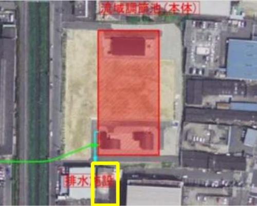 ■原告の工場は調節池の南側に隣接する