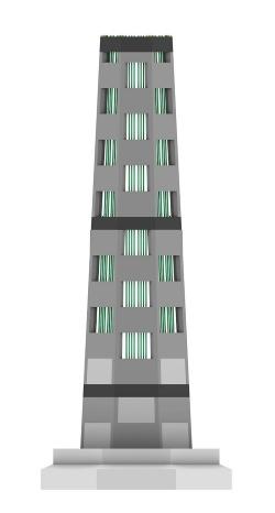 VTで造った陸上風力発電タワーのかさ上げ部分の正面図。断面は八角形で、パネルは千鳥状に積み上げている。内側にPCケーブルを配置して緊張する。ラテン語で「風の塔」を意味するVentus Turrisから名付けた(資料:會澤高圧コンクリート)