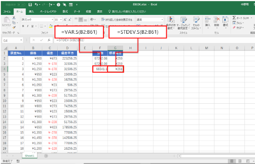 VAR.S関数とSTDEV.S関数を利用する