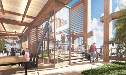 外周部は、木造の柱と梁に鋼管ブレースを組み合わせたハイブリッド構造とする(資料:住友林業)