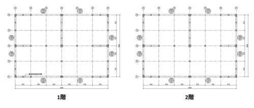 試験体の大きさは、5.46×3.64m。階高はそれぞれ2.7m(資料:住友ゴム工業)