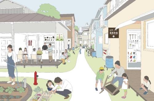 木造密集住宅地の地域社会圏化のイメージ。木造密集住宅地には空き家、細街路、既存不適格建築などの課題が山積しているが、見方を変えれば、自動車の通過交通がなく、暮らしやすい街である。そこで、小さな仕事場を持った住宅への改修や共同建て替え、生活コンビニや貯水槽の設置などを提案した(山本理顕『地域社会圏主義 増補改訂版』、LIXIL出版、2013年より/イラスト:鴨井 猛)