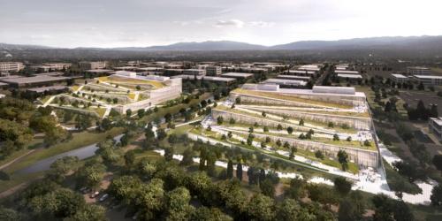 米グーグルが米国カリフォルニア州のサニーベールで進めている新オフィス計画。敷地面積は約16万4000m2、全体の延べ面積は約9万6794m2を予定している。早ければ2021年にオープンする予定だという(資料:BIG)