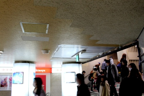 石こうボードの落下部分と漏水で劣化していた部分を取り除き養生した天井。大阪市交通局では他駅でも同様の天井がないか点検をしている(撮影:江村 英哲)