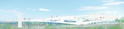 石上純也建築設計事務所がプロポーザルで提出した展望台のリニューアル案。後にデザインはシンプルな形へと大きく変更した(出所:石上純也建築設計事務所)