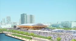 左が2018年2月時点の有明体操競技場の建設地の様子で、右が完成予想イメージ(提供:2点ともTokyo 2020)