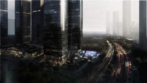 C Future Cityのイメージ。「科学技術」「芸術」「自然」を中心的なテーマとして開発を進め、未来都市の在り方を模索する(出所:チームラボ)