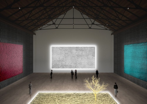 倉庫の大空間を生かした最高天井高さ15mの展示室(資料:ATELIER TSUYOSHI TANE ARCHITECTS)