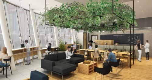 NTT都市開発が手掛ける秋葉原のコワーキングスペース。会員は共用エリアで空いている席を見つけて作業する。専用Wi-Fiは使い放題だ(資料:NTT都市開発)